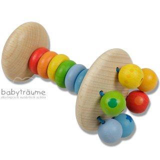 beweglicher Regenbogen-Rasselturm mit  6 Perlen, mit sanften Farben lasiert - Größe 11cm x7cm, Holz mit Kordel und Gummi
