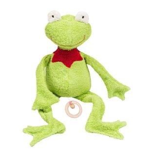 """Spieluhr """"Efie-Frosch mit Kragen"""" mit Melodie """"La Le Lu"""", grün, 100% Baumwolle (kbA), Füllung: Schurwolle, ca. 48cm"""